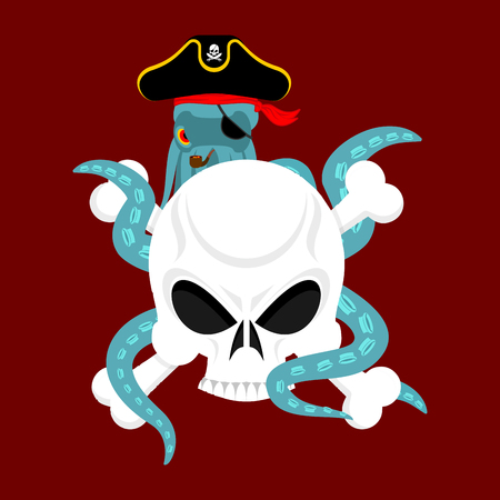 Octopus pirate and skull. Poulpe buccaneer and skeleton head. Eye patch and smoking pipe. pirates cap. Bones and See animal filibuster.