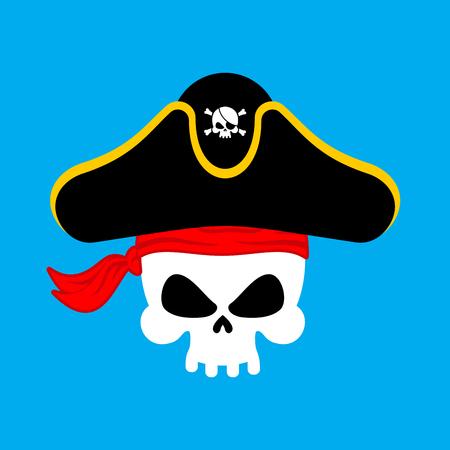 Skull Pirate portrait in hat. Eye patch. filibuster cap. skeleton corsair. Illustration