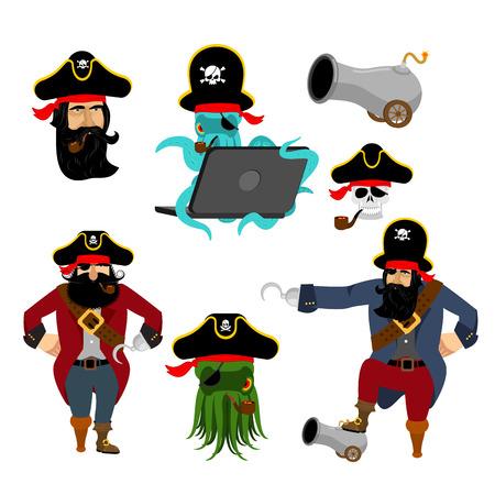 海賊は、文字を設定します。Web 海賊タコ。大砲とバッカニアします。頭蓋骨とフィリバ スターの帽子。