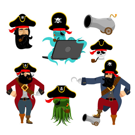 Pirate set characters. Web pirate octopus. buccaneer with cannon. Skull and filibuster hat.