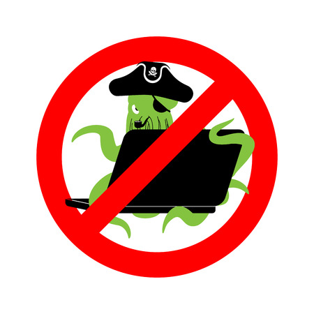 Stop Web pirate Octopus and laptop. Ban sign poulpe internet hacker and PC. Prohibiting devilfish buccaneer and computer. Eye patch and smoking pipe. See animal filibuster. Illustration