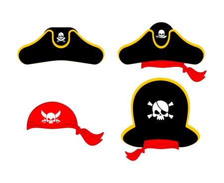 Pirates cap set. Hat buccaneer. Bones and skull. Corsair Accessory. Illustration