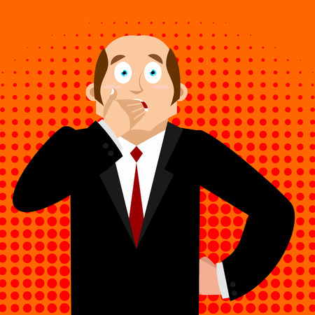 adult oops: OMG boss Face palm Pop art . Oh my god businessman is frustrated. Disappointment manager. Illustration of frustration. Illustration