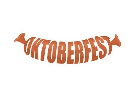 german sausage: Oktoberfest sausage Lettering logo. Symbol of National Beer Festival in Germany.