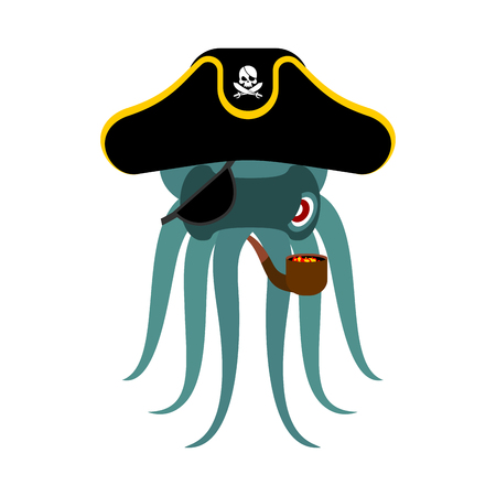 Octopus pirate. poulpe buccaneer. Eye patch and smoking pipe. pirates cap. Bones and Skull. See animal filibuster. Illustration
