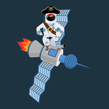 spacesuit: Space pirate on satellite. filibuster spaceman. buccaneer Cosmonaut in protective suit. rover astronaut in helmet. Eye patch and smoking pipe. pirates cap. Bones and Skull.