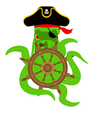 dead fish: Octopus pirate and Hand wheel. poulpe buccaneer and Rudder. Eye patch and smoking pipe. pirates cap. Bones and See animal filibuster.