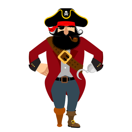 costume eye patch: Pirate isolated. Eye patch and smoking pipe. filibuster cap. Bones and Skull. Head corsair black beard. buccaneer Wooden foot. Illustration