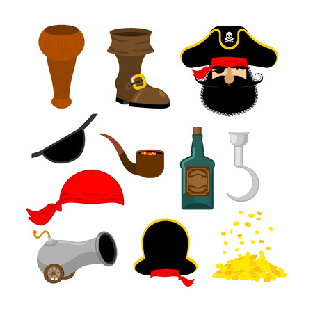 piracy: Pirate set. Pirates hat. Eye patch and smoking pipe. Bones and skull. Wooden foot. Gold coins. Rum bottle and cannon.