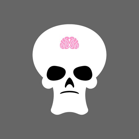 Skull and small brain. X-ray of stupid. Little mind and skeleton head.