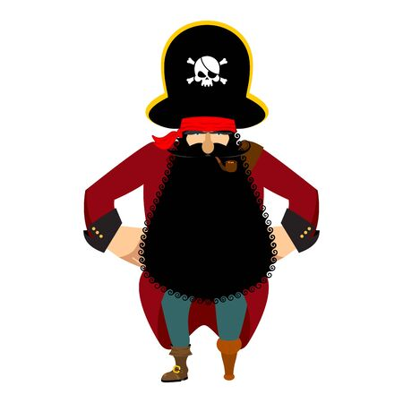 Pirate isolated. Eye patch and smoking pipe. filibuster cap. Bones and Skull. Head corsair black beard. buccaneer Wooden foot. Illustration