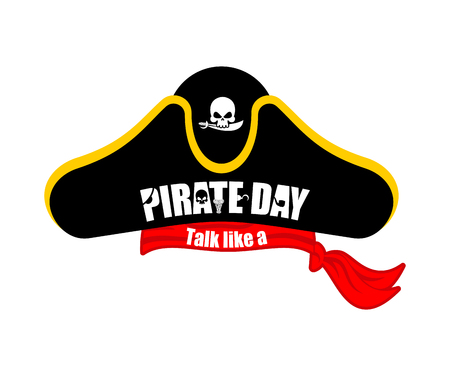 International Talk Like A Pirate Day. Pirates cap. Bones and skull. Hat buccaneer.