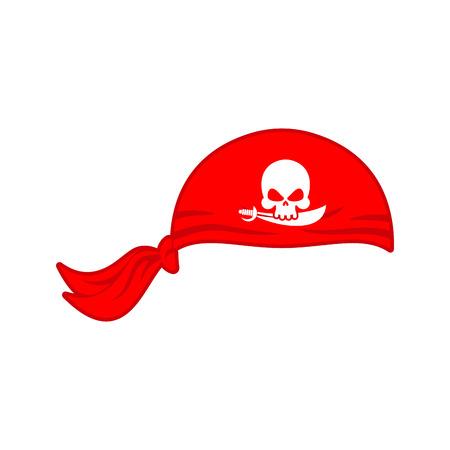 Pirates red Bandana cap isolated. Hat buccaneer. Bones and skull. Corsair Accessory.