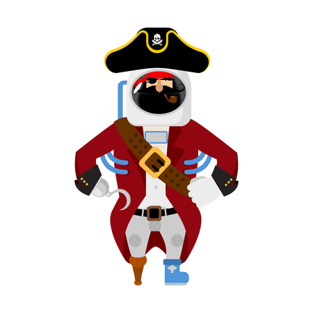 Space pirate. filibuster spaceman. buccaneer Cosmonaut in protective suit. rover astronaut in helmet. Eye patch and smoking pipe. pirates cap. Bones and Skull. Illustration