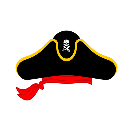 captain cap: Pirates cap isolated. Hat buccaneer. Bones and skull. Corsair Accessory.