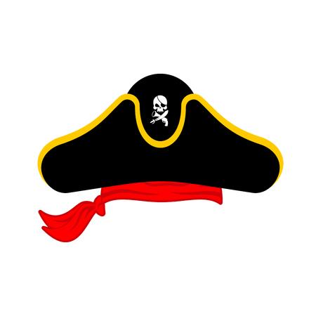 piracy: Pirates cap isolated. Hat buccaneer. Bones and skull. Corsair Accessory.