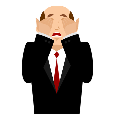 OMG boss Face palm. Oh my god businessman is frustrated. Disappointment manager. Illustration of frustration.