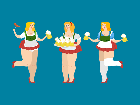 Oktoberfest girl set. National Beer Festival in Germany. Woman and alcohol Illustration