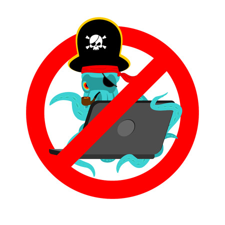 Stop Web pirate Octopus and laptop. Ban sign poulpe internet hacker and PC. Prohibiting devilfish buccaneer and computer. Eye patch and smoking pipe.  See animal filibuster.