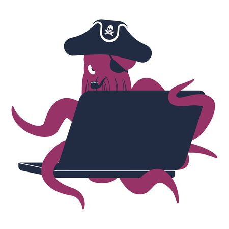 Web pirate Octopus and laptop. poulpe internet hacker and PC. devilfish buccaneer and computer. Eye patch and smoking pipe. pirates cap. Bones and Skull. See animal filibuster.