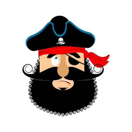 delinquent: Pirate guilty emoji head. Filibuster culpable emotion face. Buccaneer delinquent avatar. Vector illustration