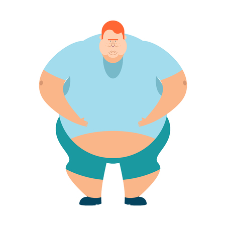 redhead Fat guy. Glutton Thick man. fatso vector illustration Illustration