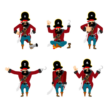 Pirate set poses and motion. filibuster happy and yoga.  buccaneer sleeping and angry. rover guilty and sad. Vector illustration Çizim