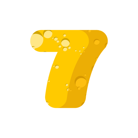 numbers abstract: figure 7 cheese font. numeral seven of cheesy alphabet. Dairy Food type sign. Vector illustration Illustration