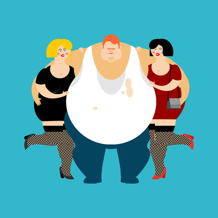 lucky Fat guy and girls. Glutton Thick man and women. fatso vector illustration