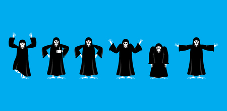 Grim reaper set poses and motion. death happy and yoga. skeleton in black cloak sleeping and angry. guilty and sad. Vector illustration