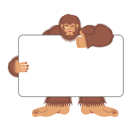 Bigfoot holding banner blank. Yeti and white blank. Abominable snowman joyful emotion. Big brown monster and place for text. Vector illustration