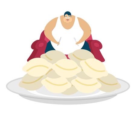 Fat guy is sitting on chair and dumplings. Glutton Thick man and food. fatso vector illustration