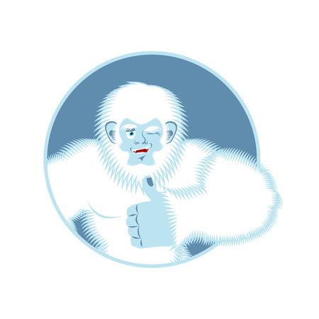 mythological character: Yeti thumbs up. Bigfoot winks emoji. Abominable snowman cheerful. Vector illustration