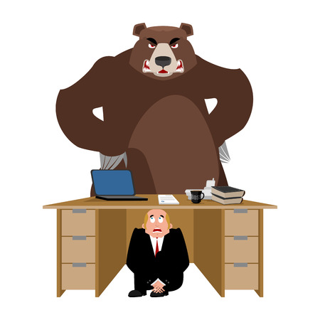 Businessman scared under table of Bear. frightened business man under work board. Wild Animal. Boss fear office desk. To hide from angry grizzly. Vector illustration