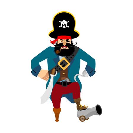 Pirate angry. filibuster evil. buccaneer aggressive. Vector illustration Illustration