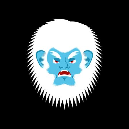 Yeti angry emoji. Bigfoot evil emotion face. Abominable snowman aggressive avatar. Vector illustration