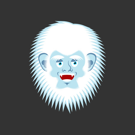Yeti cheerful emoji. Bigfoot happy face. Abominable snowman merry avatar. Vector illustration
