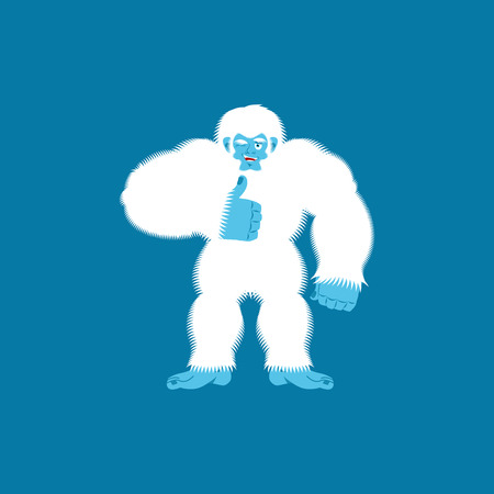 Yeti thumbs up. Bigfoot winks emoji. Abominable snowman cheerful. Vector illustration