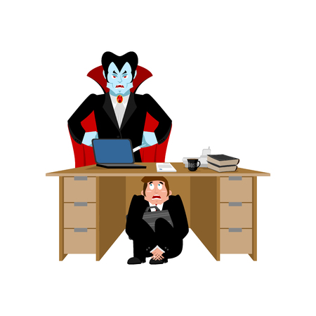 Businessman scared under table of dracula vampire. To hide from not to drink blood. frightened business man under work board.  Boss fear office desk.  Vector illustration