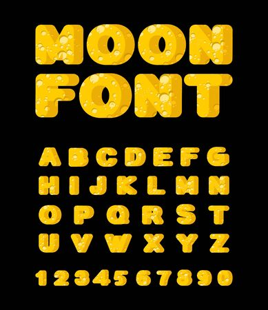 details: Moon font. Yellow letters of moon texture. Vector alphabet Illustration