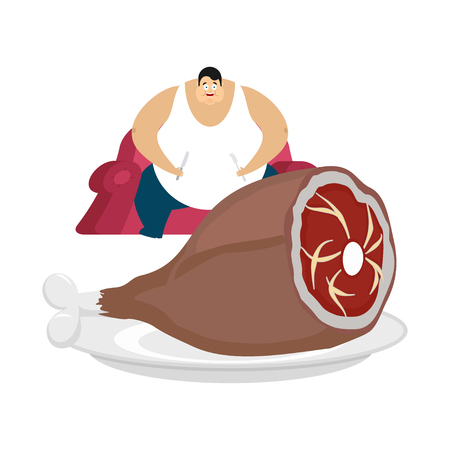 Fat guy is sitting on chair and pork. Glutton Thick man and meat with bone. Gluttony vector illustration