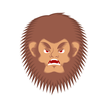 Bigfoot evil emotion face. Yeti angry emoji. Abominable snowman aggressive avatar. Vector illustration