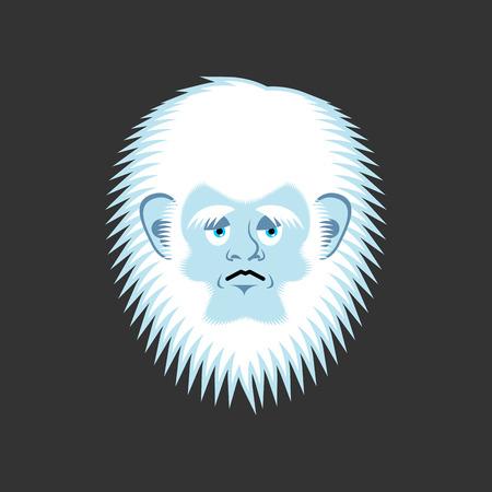 Yeti sad emoji. Abominable snowman melancholy avatar. Bigfoot wailful emotion face. Vector illustration Illustration