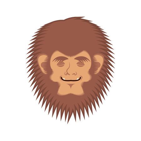 Bigfoot asleep emotion face. Yeti sleeping emoji. Abominable snowman sleeper avatar. Vector illustration