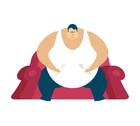 Fat guy is sitting on chair. Glutton Thick man. fatso vector illustration Illustration