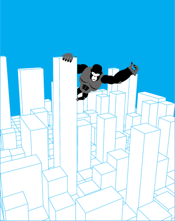 City and gorilla. Abstract Skyline and monster. Industrial landscape and big monkey. Vector illustration