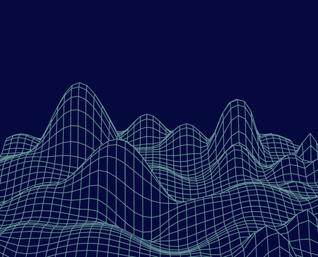 Abstract cyberspace landscape. Vector frame background country. cancellated pattern for presentation