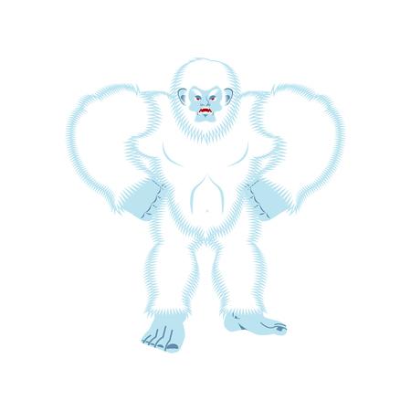 Yeti angry. Bigfoot evil. Abominable snowman aggressive. Vector illustration Illustration