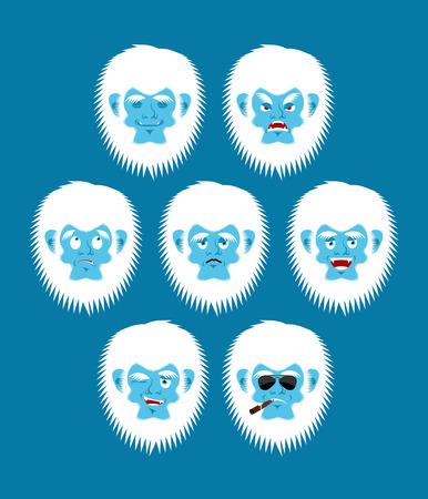 Yeti emoji set. Bigfoot sad and angry face. Abominable snowman guilty and sleeping avatar. Vector illustration Stock Vector - 85871804