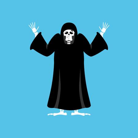awkward: Grim reaper guilty. death oops. skeleton in black cloak surrenders. Vector illustration Illustration